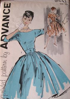 1950s Audrey Hepburn Dress Pattern by Advance 9441 Size 16 by GBVintageSupplies, via Flickr