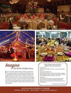 Imagine The Perfect Holiday Party From small office parties, holiday wedding celebrations and corporate events to fundraisers for nonprofits and private gatherings; Hilton Santa Fe Buffalo Thunder is the largest full-service events space in northern New Mexico. With 23 individual venues—plus private suites and lounges throughout the resort. Hilton Buffalo Thunder Hotel and Resort