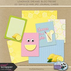 FREE Lemonade Dream Journal Cards by hollywolfscraps.com