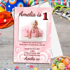 Birthday. Custom Personalised Girls First Birthday Party Invitation Photo 1st Birthday Party Invitation.