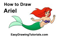 How to Draw Ariel Little Mermaid
