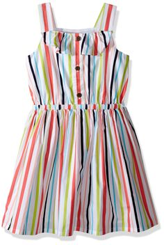 Gymboree Girls' Striped Dress with Ruffles, Multi, 6-12. Pieced ruffle trim. Approximately knee length.