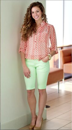 Mint green long shorts and fabulous red and white blouse.