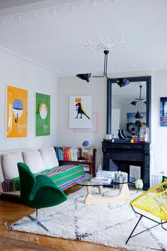 colourful living room in green and yellow