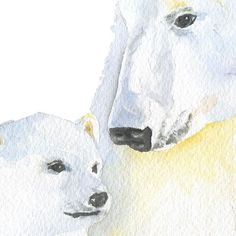Polar Bears Watercolor - Mama Bear and Cub