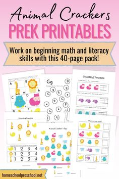 Your kids ages 3-6 will love this free Animal Crackers preschool printables. This free printable has 40+ pages full of learning activities for your little ones. #preschoolprintables #freepreschoolprintables #preschoolactivities #homeschoolprek