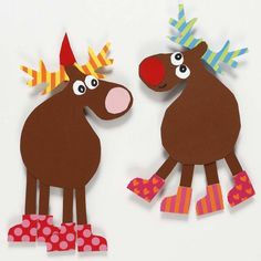 Reindeer made from Card using a Template - Creative ideas Christmas Arts And Crafts, Kids Christmas, Diy And Crafts, Christmas Crafts, Christmas Decorations, Christmas Ornaments, Holiday Decor, Diy For Kids, Crafts For Kids