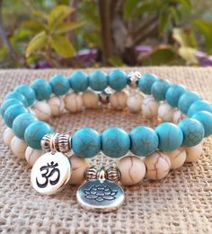 Turquoise Bracelet Stacks Yoga Bracelet Set by BohemianChicbead