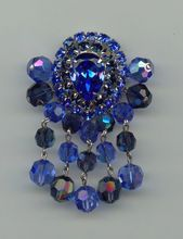 1950s Dangling Crystal Bead Brooch with Dramatic Colors $45
