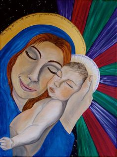 Mother and Child / Emmanuel Original Acrylic by LivingWaterArt