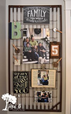 Arrange your Family Photos on a bedspring for uniqueness. The Christmas decor is heading back to the attic and I'm enjoying a naked house for a little while. But I couldn't help myself from re-vamping our family photo corner, now that I'… Bed Springs, Mattress Springs, Crib Spring, Bed Spring Crafts, Old Cribs, Display Family Photos, Family Collage, Vintage Industrial Decor, Industrial House