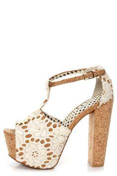 763a0d3fe5a0 Jessica Simpson Dany 4 Cream Macrame Fabric Lace Platform Heels