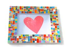 Multicolored Mosaic Picture Frame by GreenStreetMosaics on Etsy, $35.00