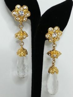 Vintage Barrera for Avon Earrings Dangle Statement Runway Clip on Lucite Crystal   eBay