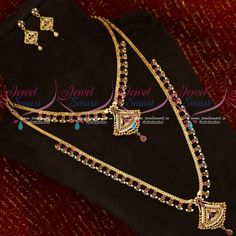 American Diamond Stones South Indian Gold Covering Short Long Bridal Jewellery Set Total length of the short necklace is 9 inches inches on both sides). Width of the necklace is 10 mm. Back adjustable chain is 7 inches Total length of the lo American Diamond Jewellery, Diamond Jewelry, Gold Plated Necklace, Gold Necklace, Short Necklace, Bridal Jewelry Sets, Diamond Stone, Jewelry Art, Arrow Necklace