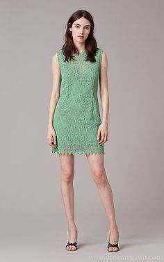 DVF Short Tailored Overlay Mini Lace Cocktail Dress 2017