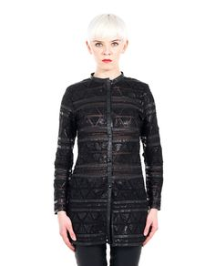 """""""Azteco""""  black leather jacket mandarin collar long sleeves silk details transparent effect button closure free T-shirt included 100% Leather"""