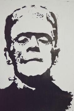 Frankenstein sobre Durex, técnica cauchola y tinta china.