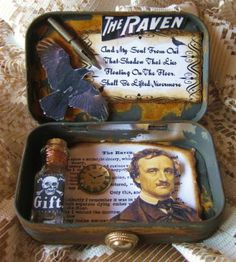edgar allen poe altered tin. Cool idea for book reviews or author summaries
