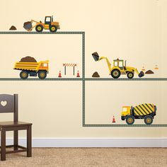 Construction Wall Decals Four Construction Vehicles with Straight Road Decals, Eco-Friendly Fabric Wall Stickers Removable & Reusable - Four Construction Vehicles Wall Decals with Straight Gray Road, Fabric Decals Removable and Reusabl - Big Boy Bedrooms, Kids Bedroom, Boy Rooms, Boys Construction Room, Construction Theme Bedroom, Bedroom Themes, Bedroom Decor, Bedroom Designs, Bedroom Ideas
