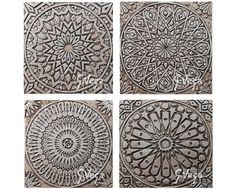 Set of 6 garden decor wall hangings made from ceramic. [This listing has a 10% discount for ordering 6 tiles - they are normally 66€ each].  Our tiles are