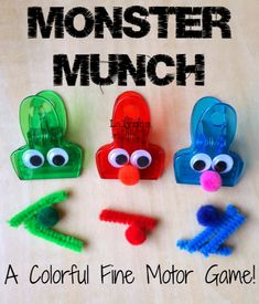 LalyMom Kids Crafts and Activities: Monster Munch Fine Motor Game for Kids- Fine Motor Fridays