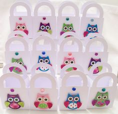 12 Owl themed party favour boxes  by SparkleandComfort on Etsy, $24.00