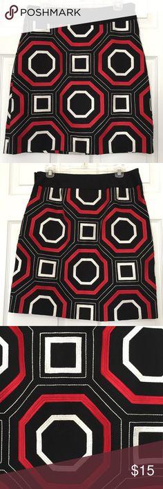 Ann Taylor Geometric Red Black White Skirt Size 8 Super cute! Ann Taylor Geometric Red Black & White Skirt Size 8 Ann Taylor Skirts