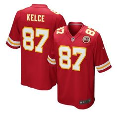 Men's Kansas City Chiefs #87 Travis Kelce Red Stitched Nike NFL Color Rush Limited Jersey