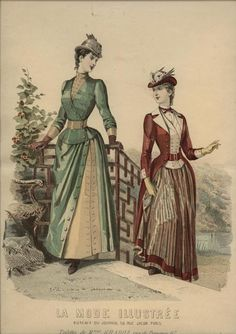 Love the coat and vest look; also the buttoned split in the skirt. La Mode Illustree, 1889