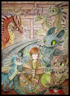 HTTYD Reading to Dragons by sharpie91.deviantart.com on @deviantART