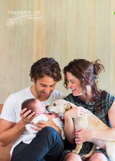 Robin Tunney with her fiance Nicky Marmet, baby boy Oscar and dog Rufus
