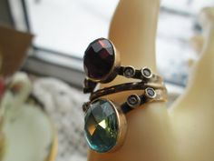 Vintage Designer 2.54ctw Amethyst & Blue Topaz with White Sapphires Two-Tone 925 Sterling Silver Ring Sz 9.5, Wt. 7.9g