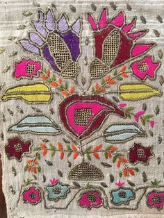 Antique Ottoman-Turkish Silk & Gold Metallic Hand Embroidery On Linen Fragment 2 2