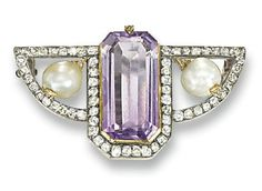 A RUSSIAN AMETHYST, PEARL AND DIAMOND BROOCH, BY FABERGE   The cut-cornered rectangular amethyst flanked by two pearls to the old-cut diamond wing-shaped surround, pearls untested, 1896-1908, 4.0 cm wide  With maker's mark in cyrillic for Carl Fabergé