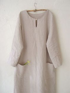 Linen dress, beautiful, simplistic and loose. Would make a nice artist smock, as seen on lin-net.com