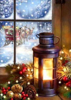 Christmas Scenery, Christmas Artwork, Cosy Christmas, Snoopy Christmas, Merry Little Christmas, Christmas Past, Christmas Paintings, Vintage Christmas Cards, Country Christmas