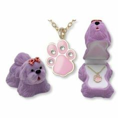 Bright and sparkling necklaces in the most adorable and cute boxes! Dog paw pendant individually boxed in a flocked dog-shaped box. Warning Choki ...