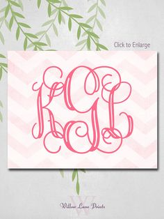 Baby Girl Nursery Decor Monogram Wall art by WillowLanePrints