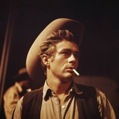 """'Yeah,' I say. He says, 'James Dean was just killed in a car accident.' And at that moment, the lights went out on the stage, and the spotlight came up on this empty chair, and I flipped out."""" Dennis Hopper (Photo from movie GIANT)"""