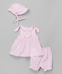 Love this Pink Bunny Smocked Dress Set - Infant by Fantaisie Kids on #zulily! #zulilyfinds