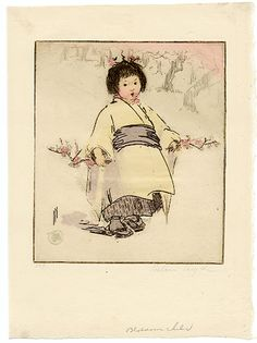 """Blossom Child by Hyde, Helen Japanese Patterns, Japanese Prints, Japanese Art, Oriental Print, Geisha Art, Country Paintings, Wonderful Picture, Urban Sketching, Painted Paper"