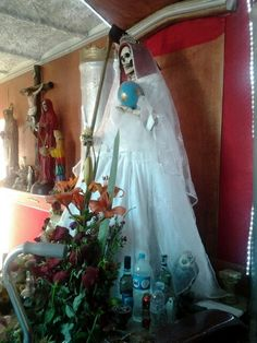 A beautiful santa muerte altar.