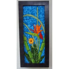 Cuadros En Patchwork Sin Agujas Ave Del Paraiso $ 190000.0 Van Gogh, Quilt Patterns, Quilts, Frame, Artwork, Flowers, Painting, Punch, Stained Glass