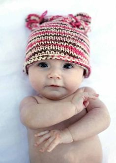 Knitted hat, baby girl, bear ears, pink, brown, and cream striped color