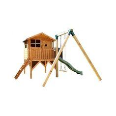 Outdoor-Childrens-Wooden-Wendy-Playhouse-Tower-Den-Swing-Slide-Climbing-Frame