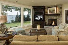 Stone Fireplace & Large Windows | Stonewood, LLC - Minneapolis, Minnesota Custom Home Builder