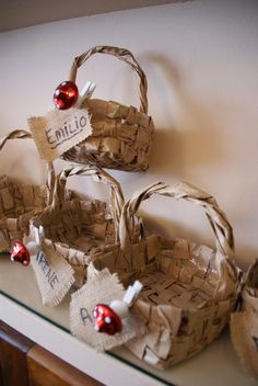 Basket favors at a Woodland Party #woodlandparty #favors
