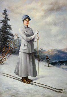I Cant Sleep, Vintage Ski, Cross Country Skiing, Edwardian Era, Norway, Outdoor Adventures, Stockholm, Cute, Painting