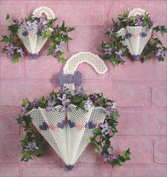 Plastic Canvas - e-Pattern Leaflets & Trios - Umbrella Flower Baskets Plastic Canvas Books, Plastic Canvas Stitches, Plastic Canvas Coasters, Plastic Canvas Ornaments, Plastic Canvas Tissue Boxes, Plastic Canvas Crafts, Plastic Canvas Patterns, Yarn Crafts, Diy And Crafts